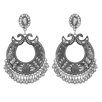e37702cd2 Buy Shreyadzines Traditional Oxidized Silver Exclusive Chandbali Design  Dangle Jhumka Ghungroo Earrings for Women and Girls Online at Low Prices in  India ...