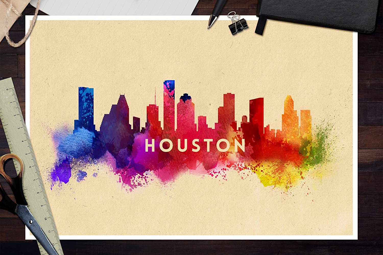 Amazon.com: Houston, Texas - Skyline Abstract (12x18 Art Print, Wall ...