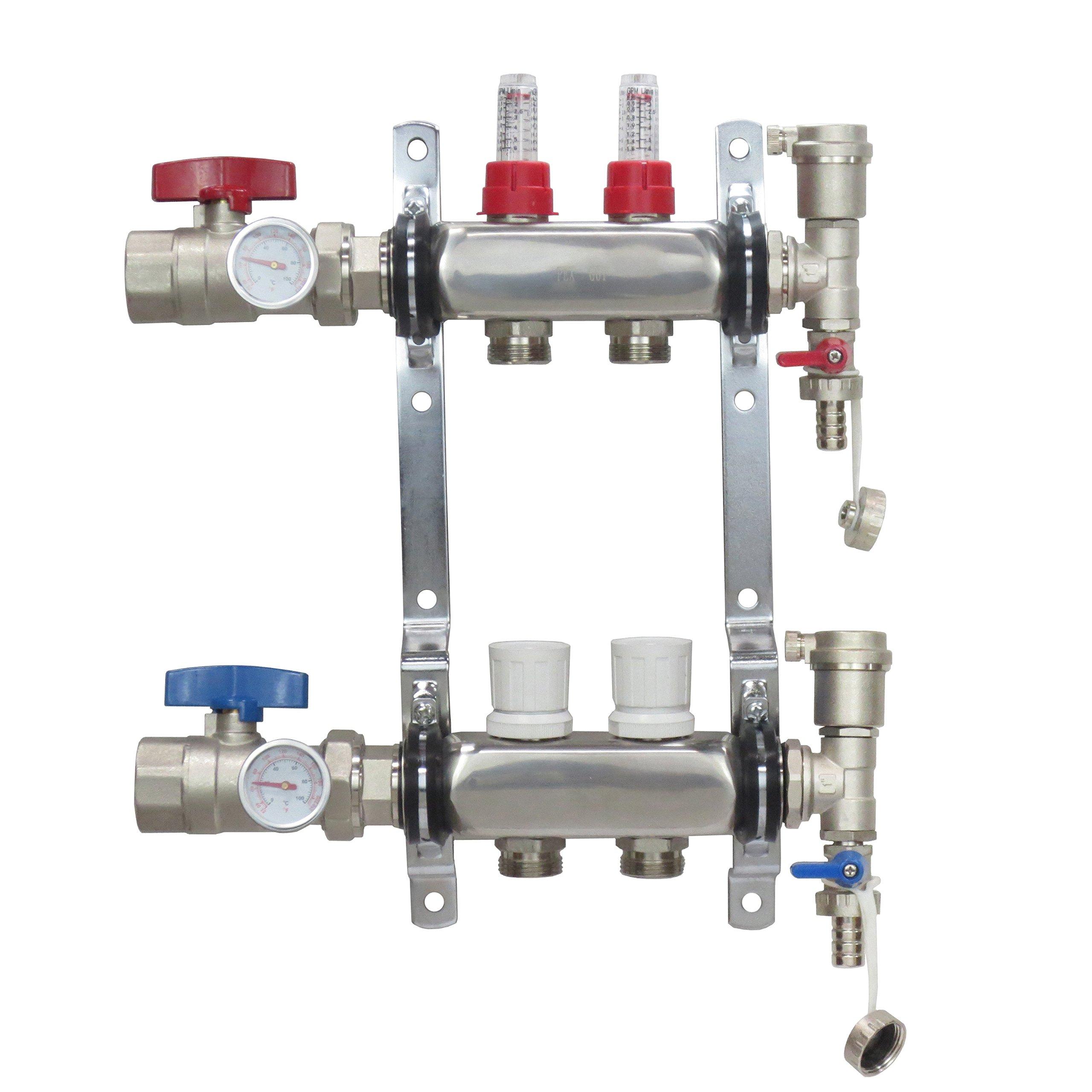 2 Loop Stainless Steel Premium PEX Manifold With 1/2'' Connectors for Radiant Heating - PEX GUY (2 Loops)