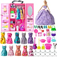 SOTOGO 54 Pieces Doll Clothes and Accessories for 11.5 Inch Girl Doll Clothes Include 11 Pieces Handmade Doll Grown Outfits Party Dresses, 42 Pieces Different Doll Accessories and Doll Closet Wardrobe