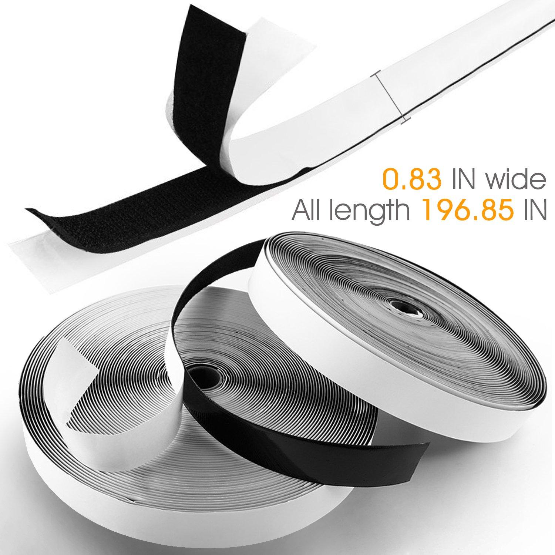 Autoadesivo Extra Forte Hook Loop per Portafoto 5m X 2cm Aderenza Forte KKtick Nastro Adesivo in Velcro,Strisce Laccio Adesivo Zanzariera,Tende,Fai da Te -Nero