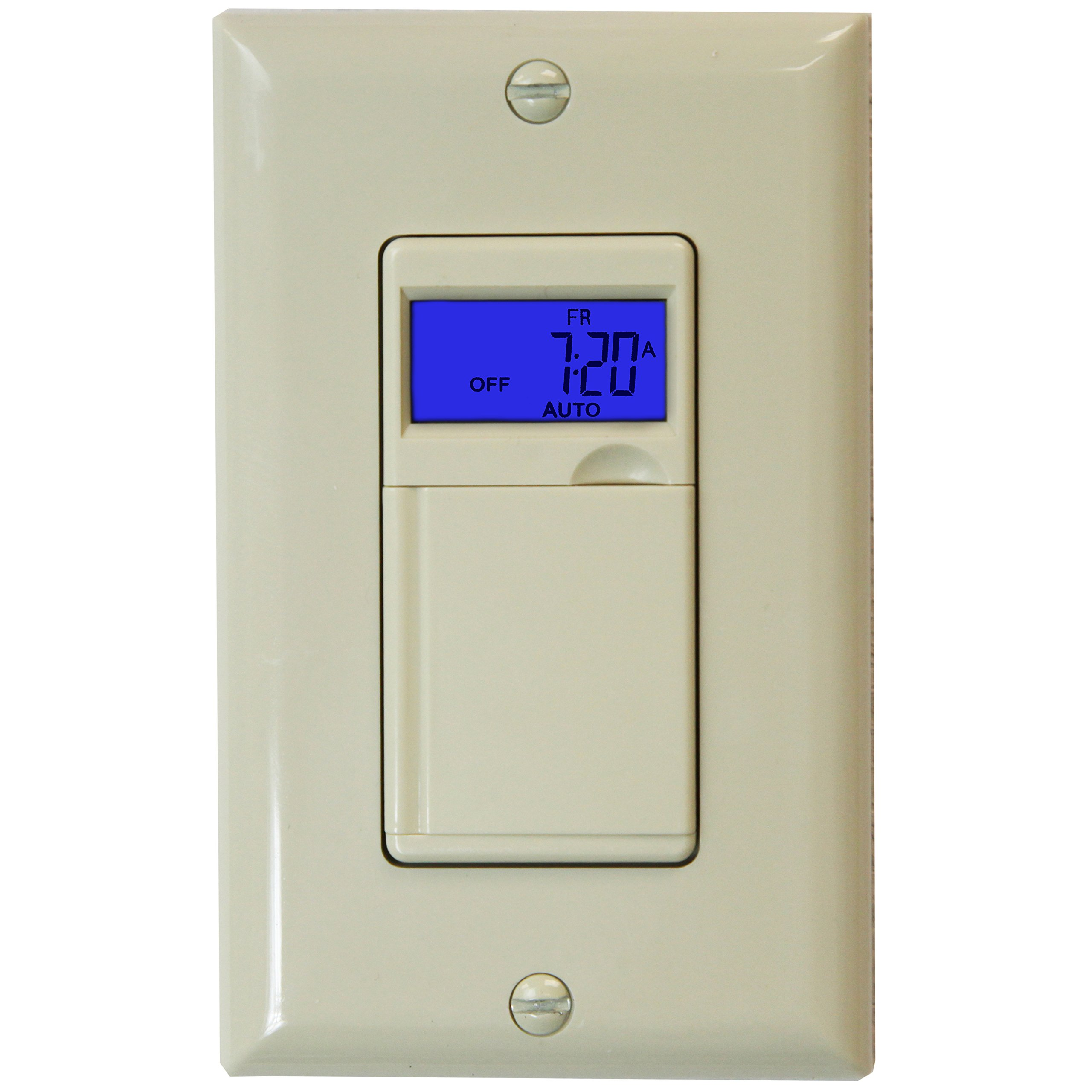 Enerlites HET01 7 Days Digital In-Wall  Programmable Timer Switch with Blue Backlight, Ivory