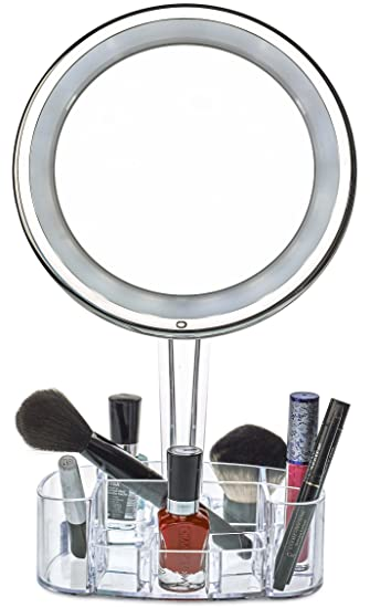 Amazon daisi magnifying lighted makeup mirror with cosmetic daisi magnifying lighted makeup mirror with cosmetic organizer base 7x magnification led lighted free mozeypictures Images