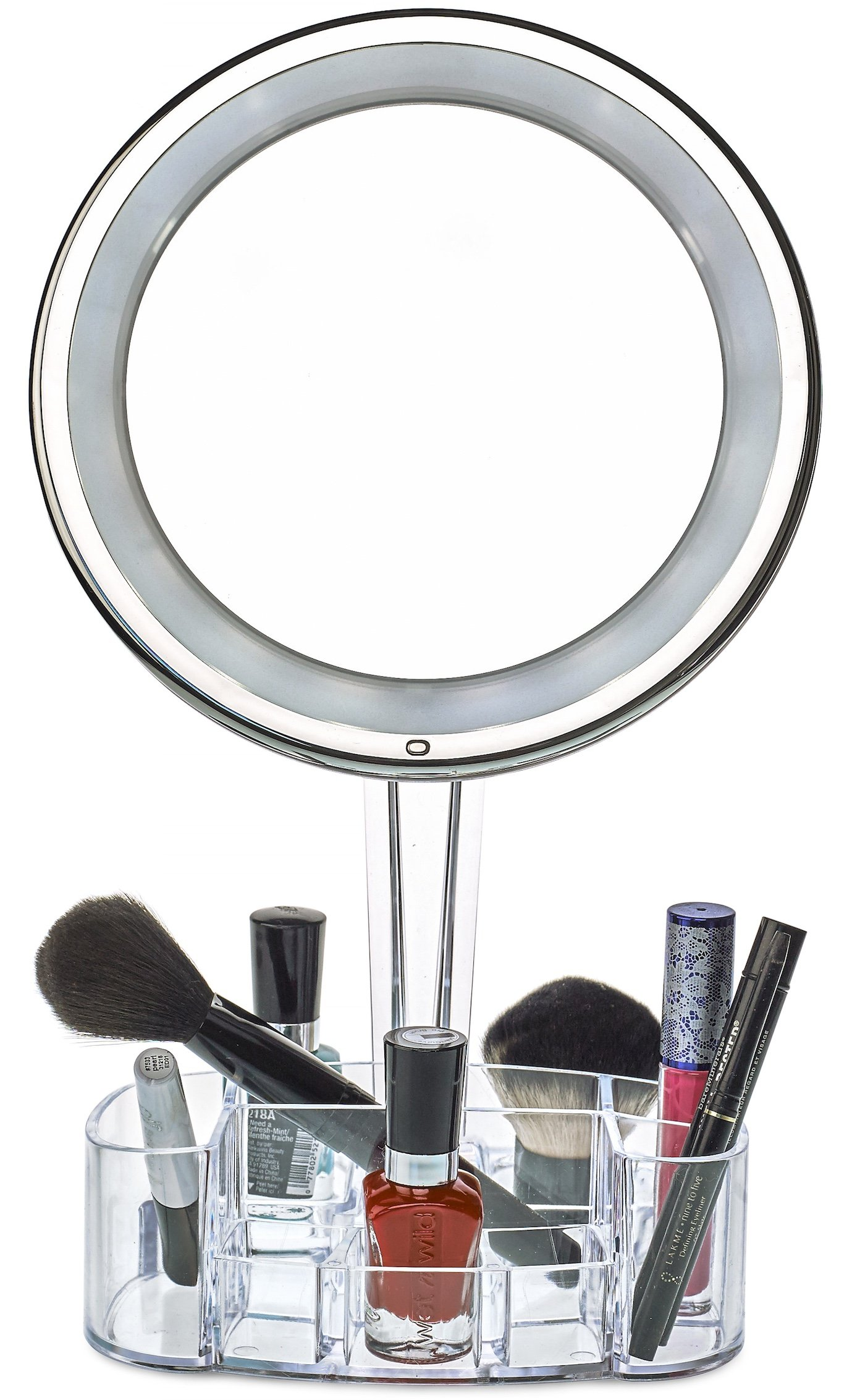 daisi Magnifying Lighted Makeup Mirror with Cosmetic Organizer Base | 7X Magnification, LED Lighted Free Standing Bathroom Mirror for Vanity, Desk or Tabletop
