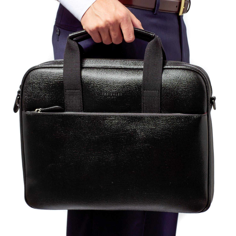 Ted Baker Men's Morcor Leather Document Bag, Black