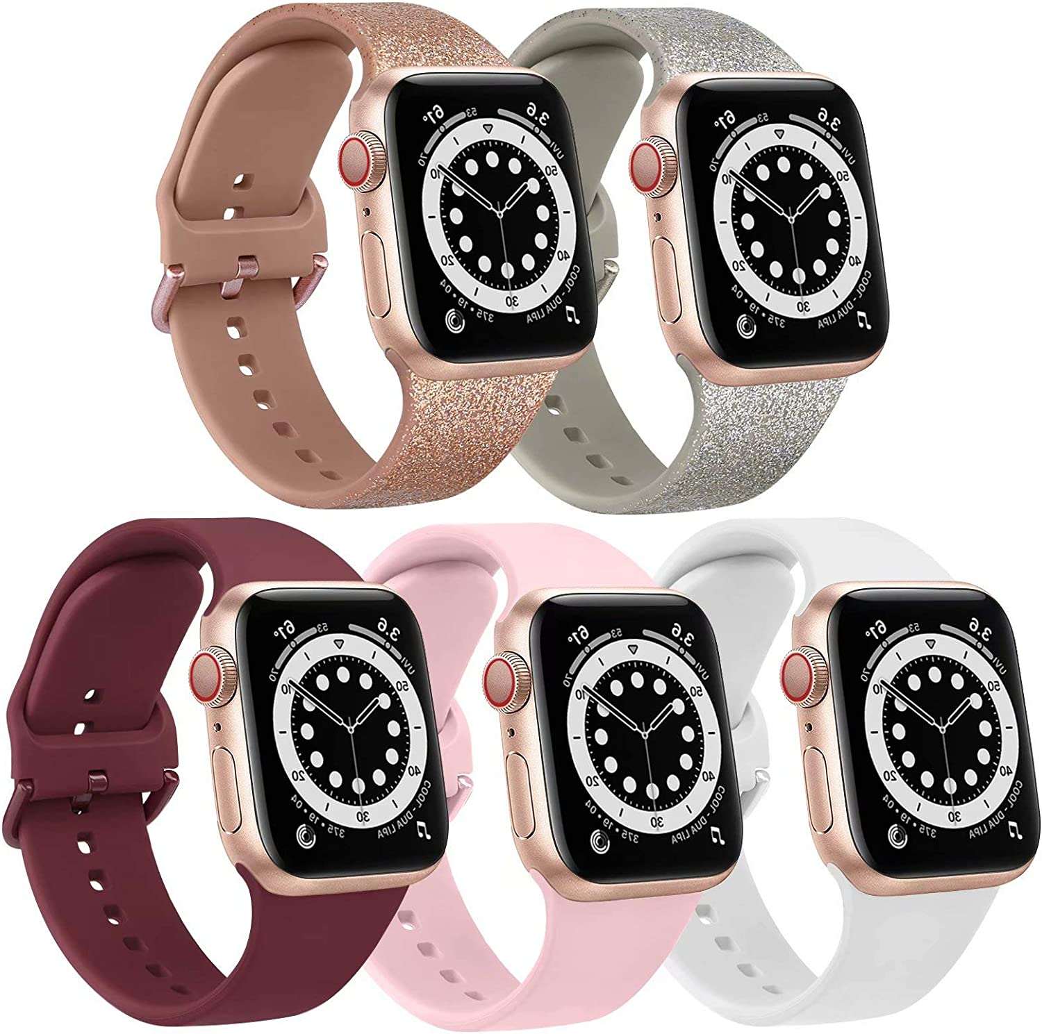 [5 Pack] Bands Compatible with Apple Watch Band 40mm 38mm Soft Silicone Sport Replacement Strap (38/40mm, Glitter Rose Gold/Glitter Silver/Pink/Wine Red/White)
