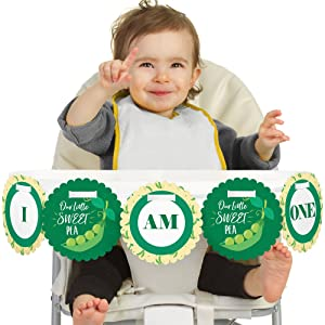 Big Dot of Happiness Sweet Pea in a Pod 1rst Birthday Highchair Decor - I Am One - First Birthday High Chair Banner
