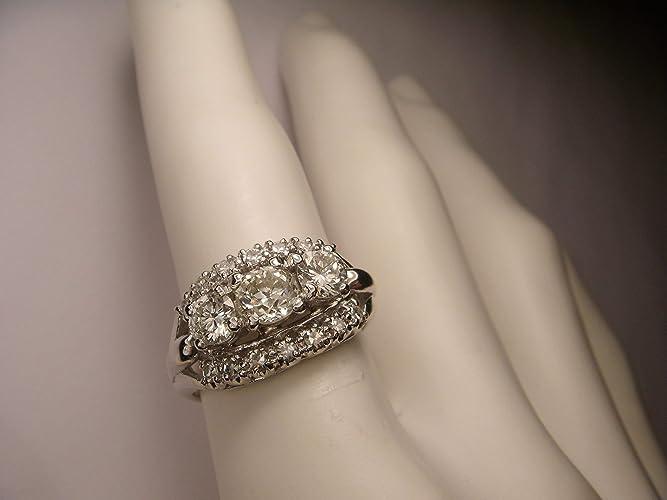 Jewelry & Watches Gorgeous Estate 14k White Gold Diamond 3-stone Three Stone Band Ring
