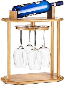 High-Grade Wooden Wine Rack & Wine Glass Holder – 100% Natural Bamboo Wine Holder - 360° Swivel Free Standing Wine Glass Rack, Easy Assembly - Holds 4 Wine Glasses & Wine Bottle, Great Wine Lover Gift