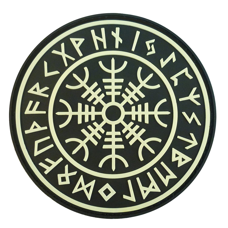 Glow Dark Aegishjalmr Viking Helm of Awe Norse Heathen Rune Morale PVC Rubber Touch Fastener Patch