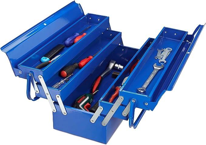 Relaxdays Caja Herramientas Vacía con Asa, Maletín Almacenaje, 5 Compartimentos, Metal, 21 x 53 x 20 cm, Azul: Amazon.es: Bricolaje y herramientas