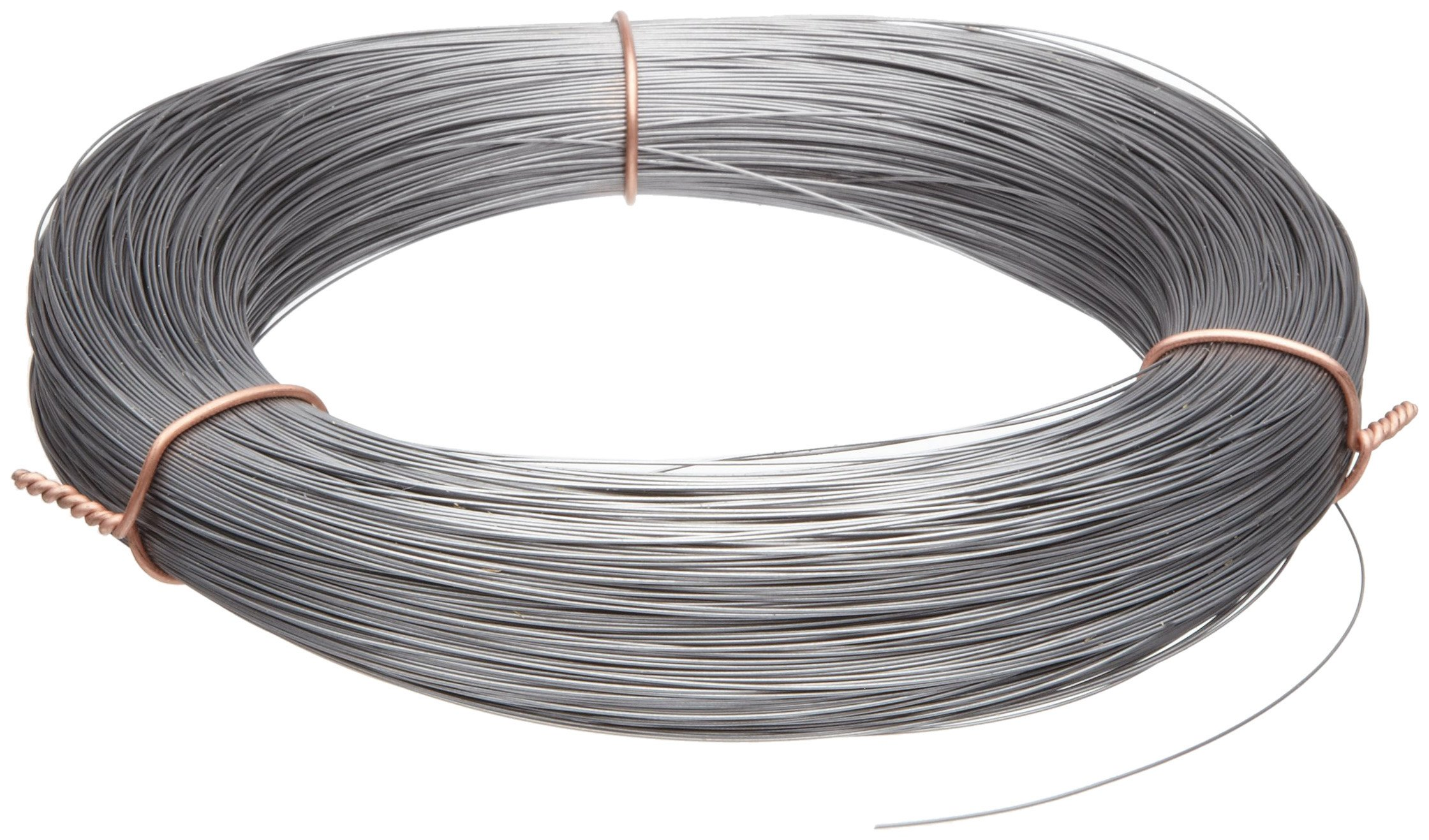 High Carbon Steel Wire, Mill Finish #2B (Smooth) Finish, Grade #2B Smooth, Full Hard Temper, Meets ASTM A228 Specifications, 0.130'' Diameter, 22' Length, Precision