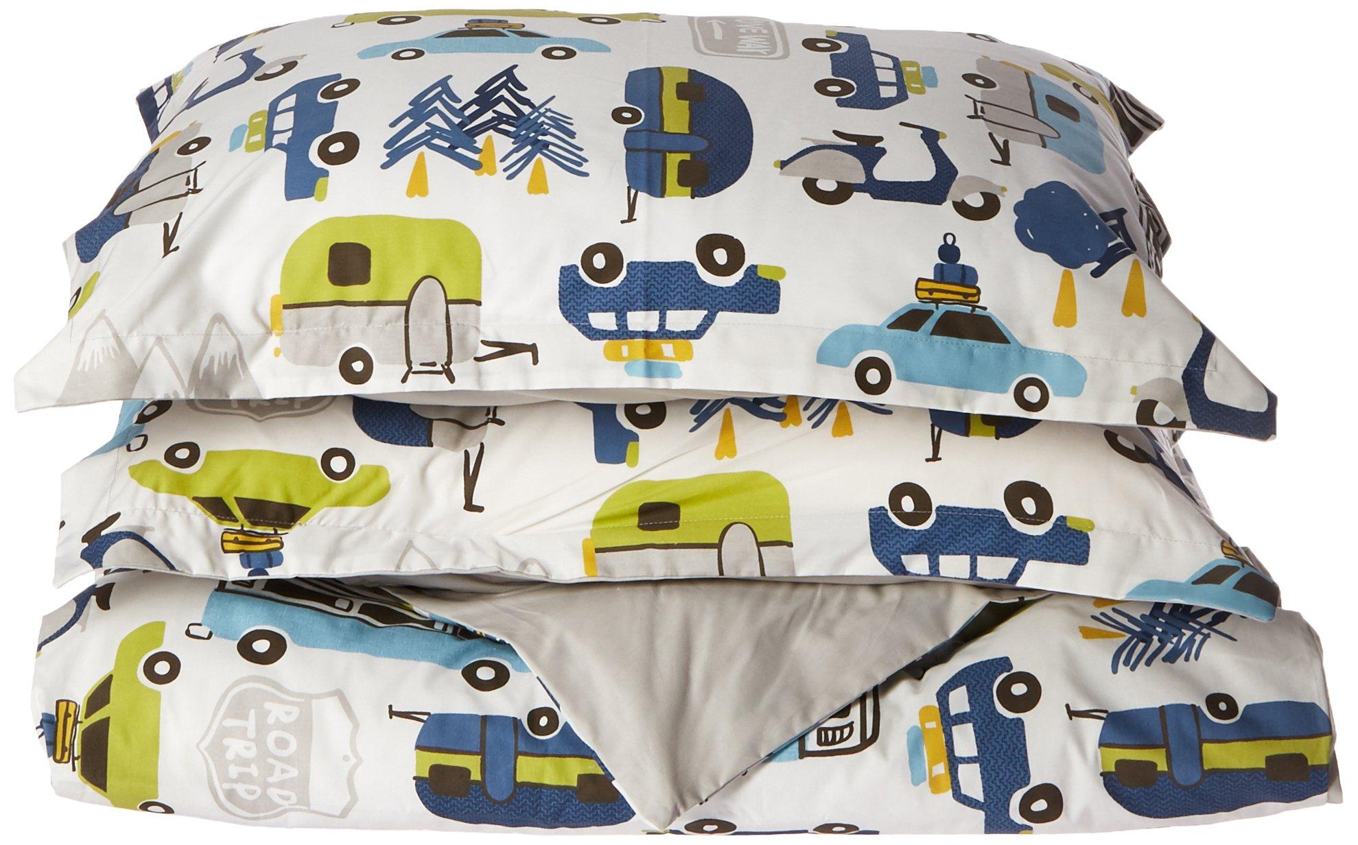 INK+IVY Kids Road Trip Full/Queen Duvet Cover Set Kids Boy - White Blue, Car – 4 Piece Bed Set Cover – 100% Cotton Kid Boys Bedding Set