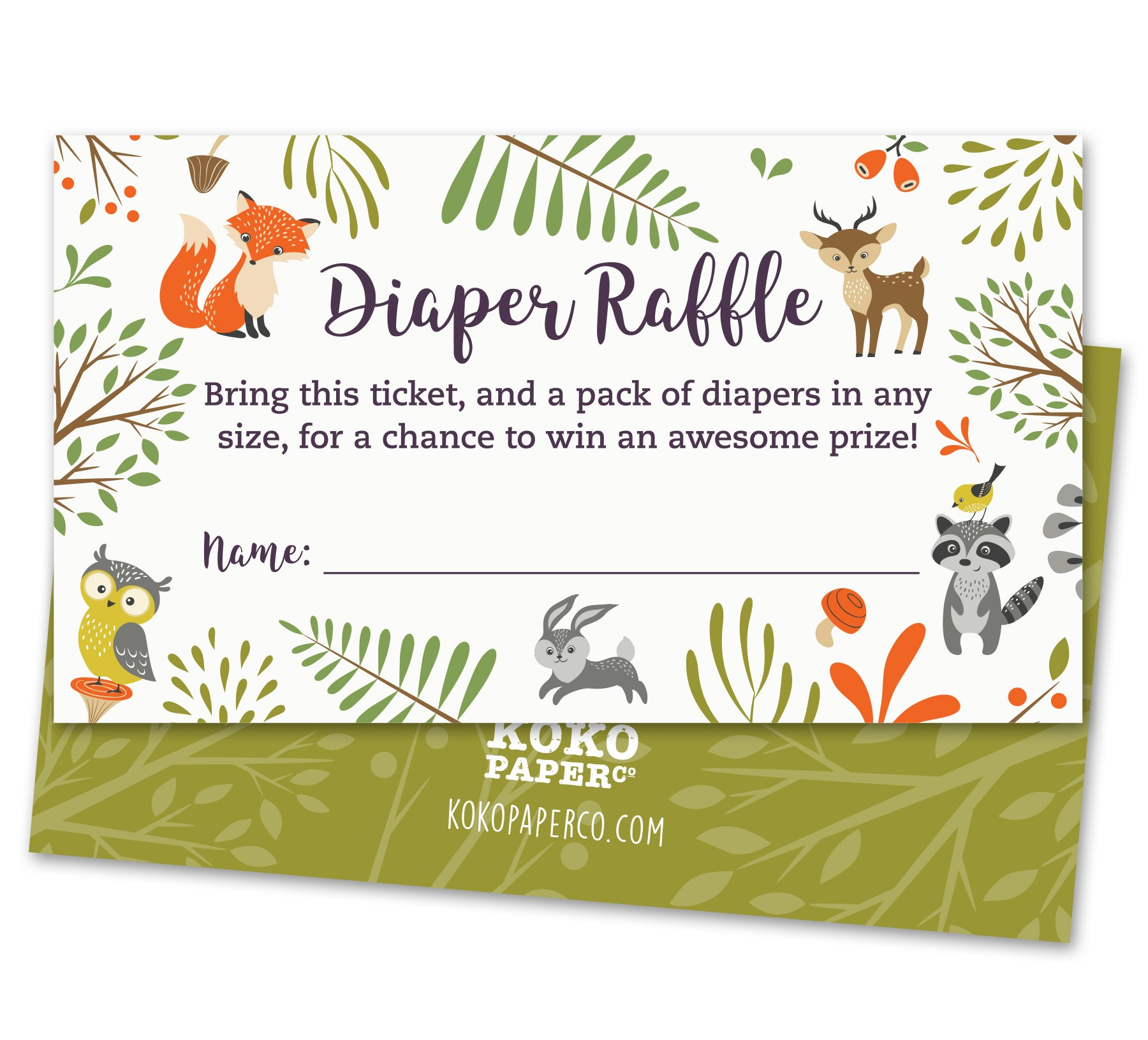 Woodland Diaper Raffle Tickets with Owl and Forest Animals. Pack of 50 Fill In The Blank Unisex Design Suitable for Boy or Girl.