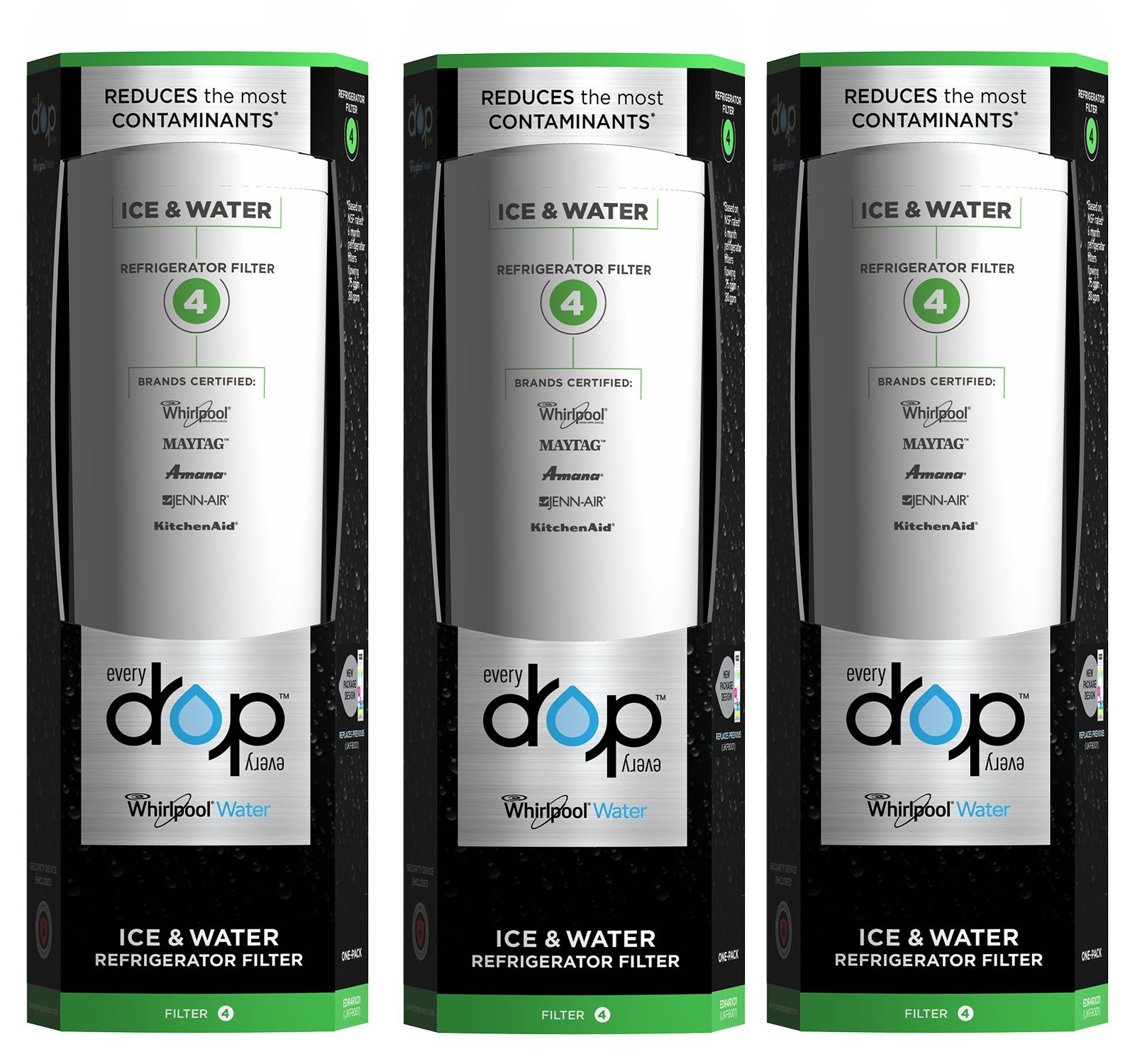 EveryDrop by Whirlpool Refrigerator Water Filter 4 (Pack of 3)