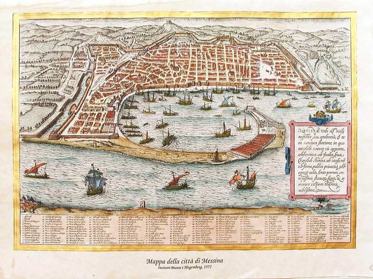 Stampa dArte 1572-42x30 Su carta antica Mappa di Messina Stampata e dipinta a mano
