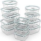 Razab - 24 recipientes herméticos de vidrio para almacenamiento de alimentos con tapas para microondas, horno…