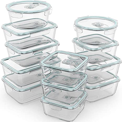 760d7b38c2e8 Razab 24 Piece Glass Food Storage Containers w/Airtight Lids -  Microwave/Oven/Freezer & Dishwasher Safe - Steam Release Valve BPA/ PVC  Free -Small & ...