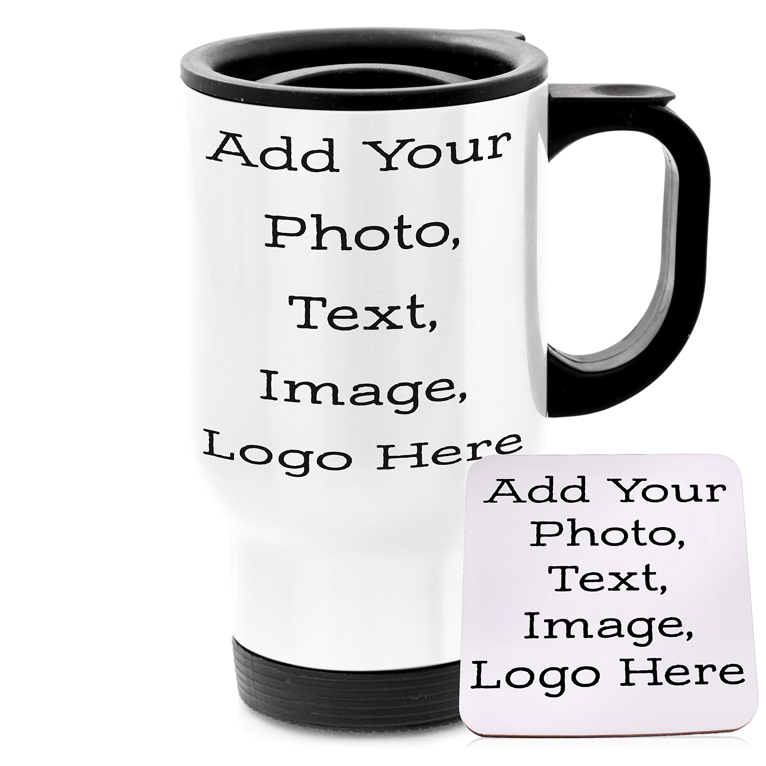 Personalized Custom Travel Mug - Add Your Photo, Text, Logo, Monogram - 8 Different Fonts & Colors - 14oz Travel Tumbler with Lid Coffee Mug & Tea Cup with Matching Coaster
