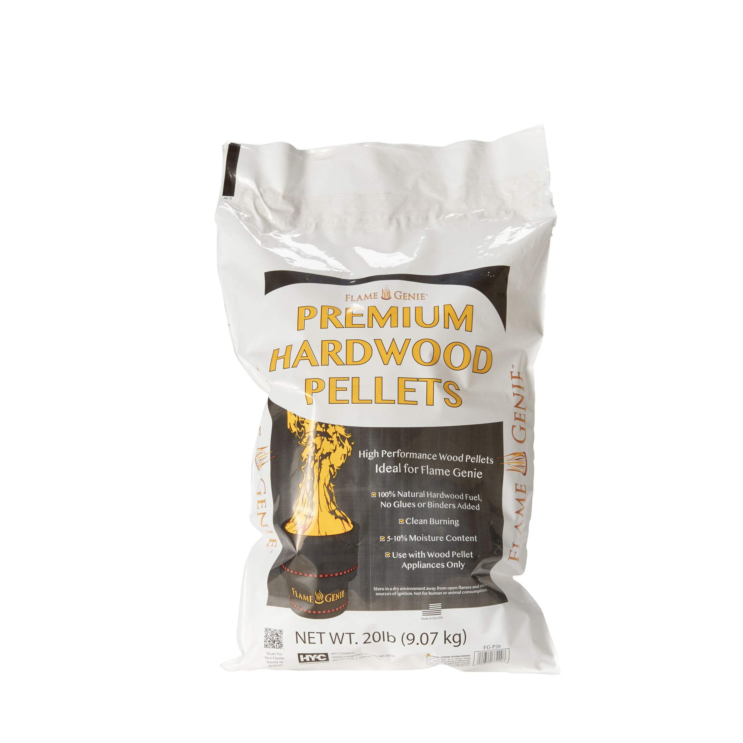 Flame Genie FG-P20 Premium Wood Pellets for Fire Pits, 20 Pound Pack Black