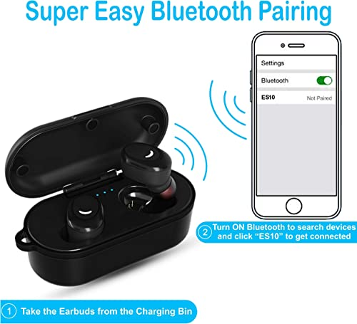 Wireless Earbuds Bluetooth 5.0 Headphones EchoStarz ES10 Deep Bass Sound Hands-Free Dual Calling Built-in Mic Waterproof IPX8 Charging Case Fitness Running Walking Sport Gym Outdoor Indoor