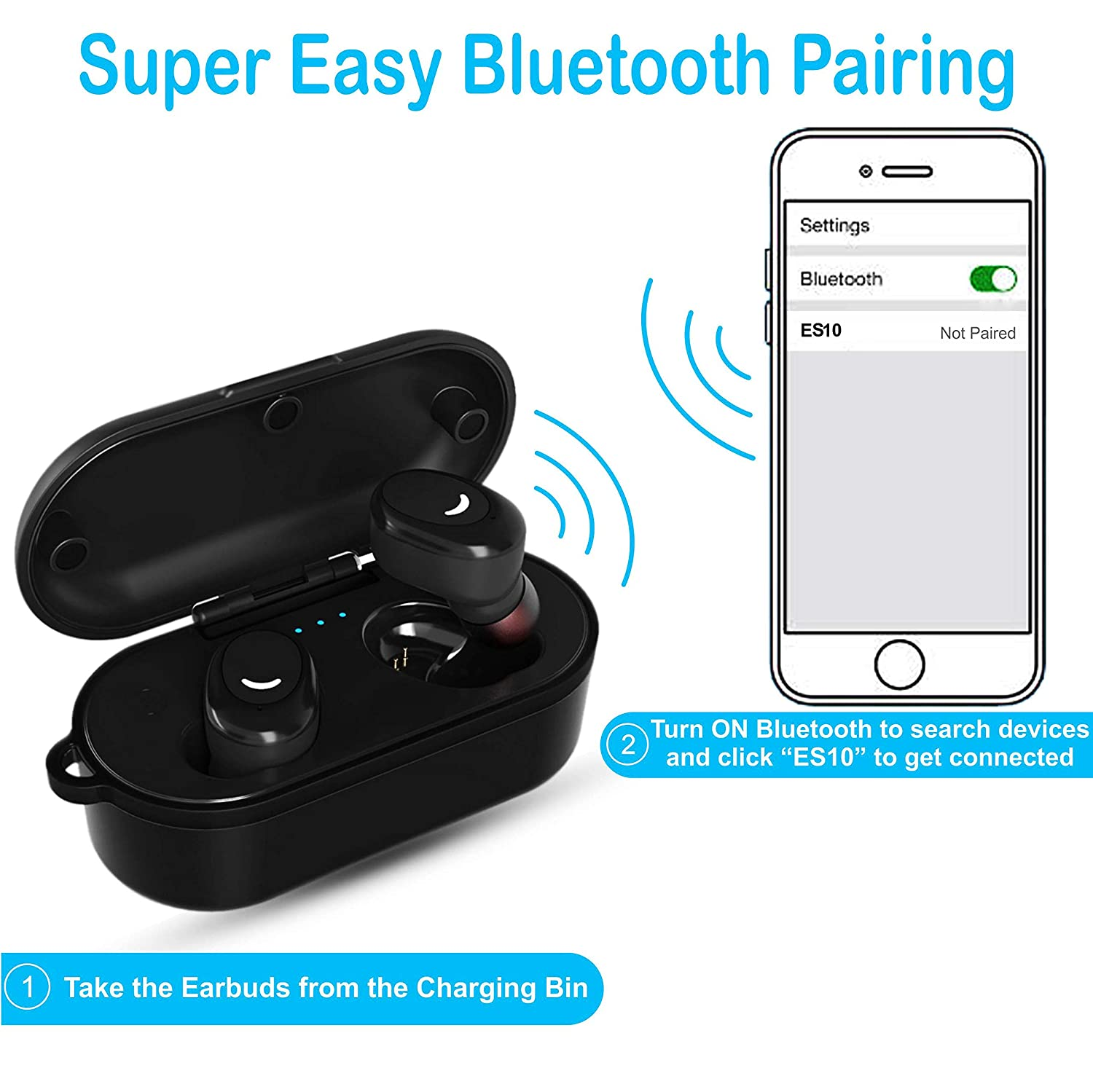 Waterproof Wireless Earbuds TWS Headphones Bluetooth 5.0 IPX8 EchoStarz ES10 Deep Bass Sound Hands-Free Dual Calling Built-in Mic Charging Case Fitness Running Walking Sport Gym Outdoor Indoor