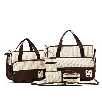 Amazon.com: SoHo- Bolsa de pañales marrón con cambiador de 6 ...