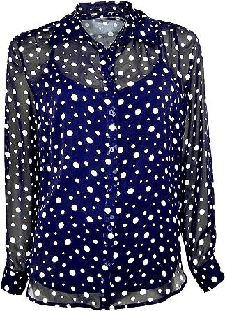 Marks & Spencer Azul Marino y Blanco Lunares Camisa Gasa con undervest