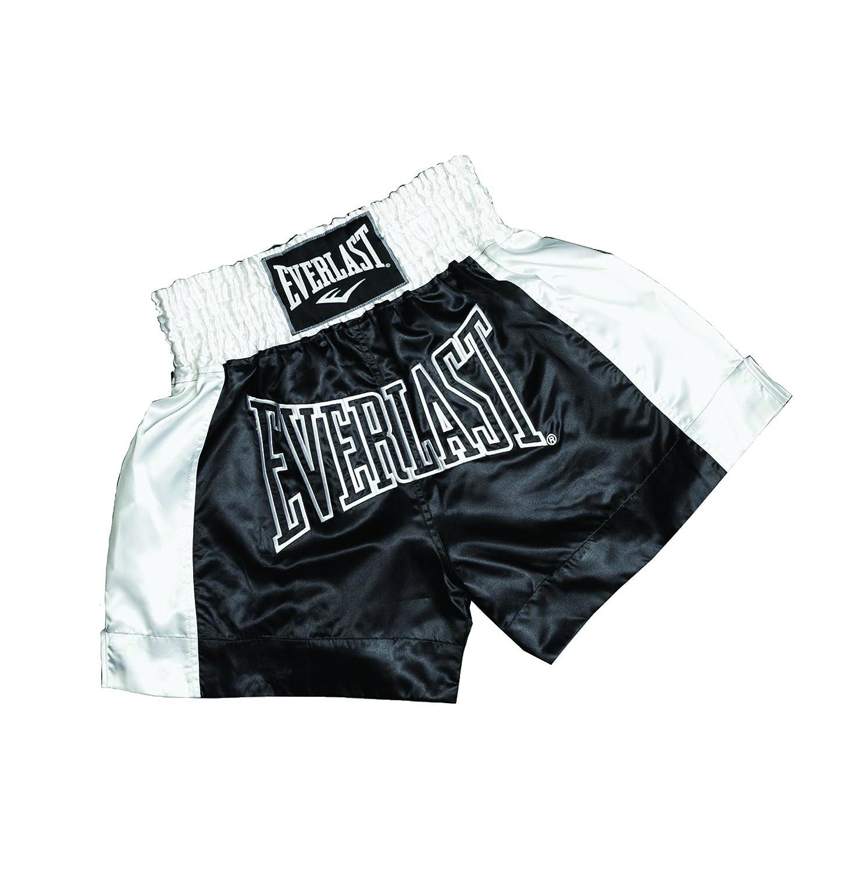 Everlast Short de Boxe Thai Pantalon pour Adulte Noir/Blanc-Taille EM6
