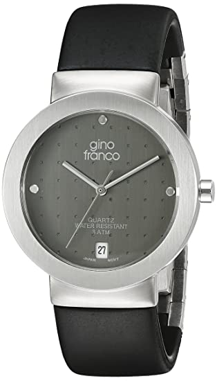 Stainless Gino Franco Strap Rubber Steel Men's Case And 993gy Round Tlc31JFK