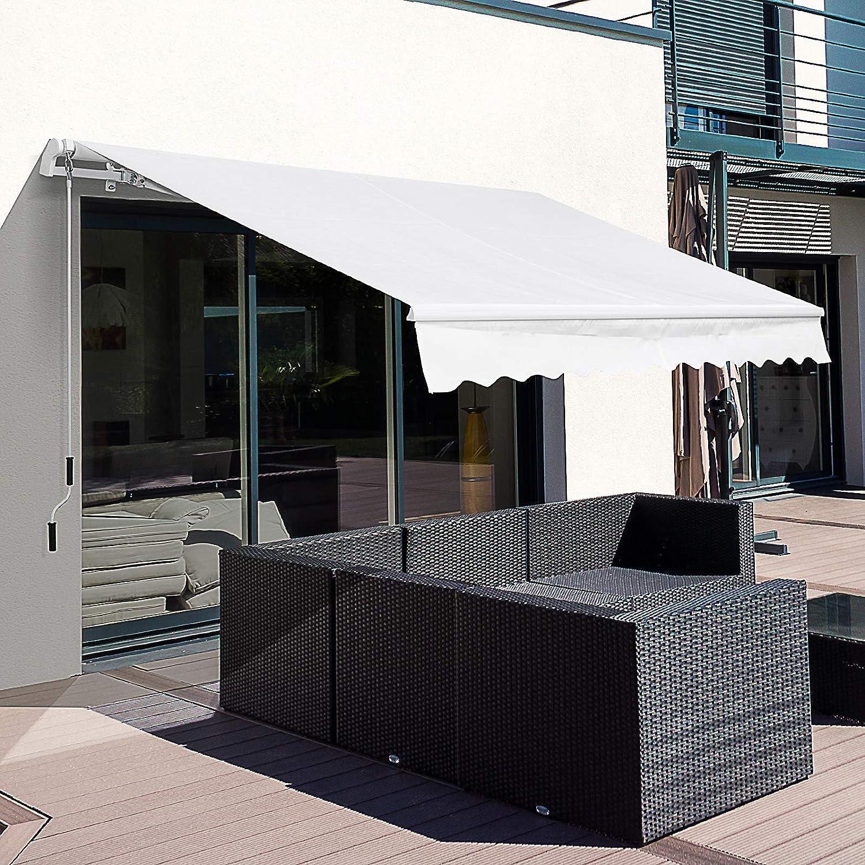 Outsunny Toldo Manual Plegable de Aluminio Toldo Balcón Patio Terraza con Manivela Resistente al Agua Protección Solar UV para Jardín Exterior ...