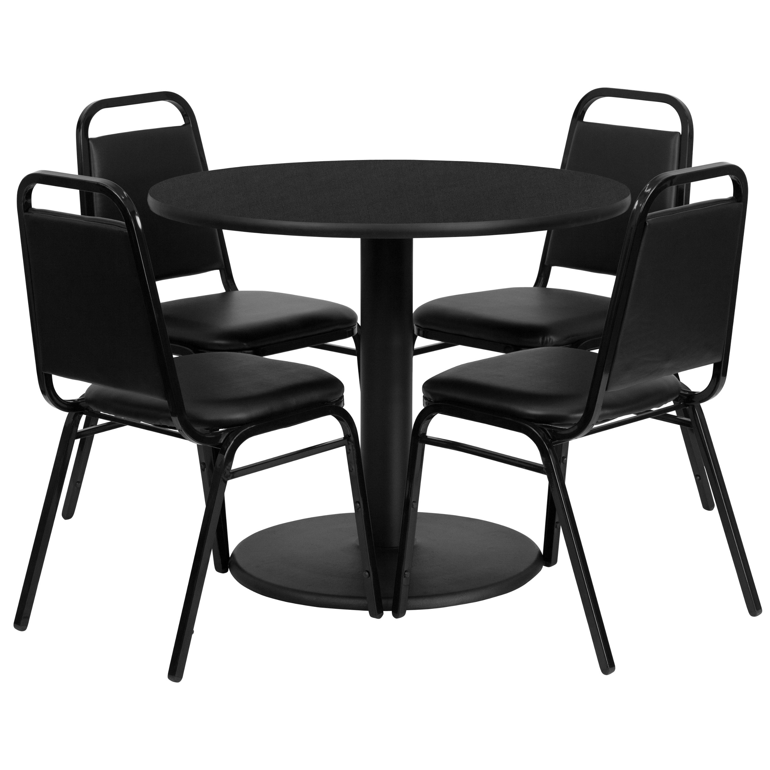 Flash Furniture 36'' Round Black Laminate Table Set with 4 Black Trapezoidal Back Banquet Chairs by Flash Furniture (Image #1)