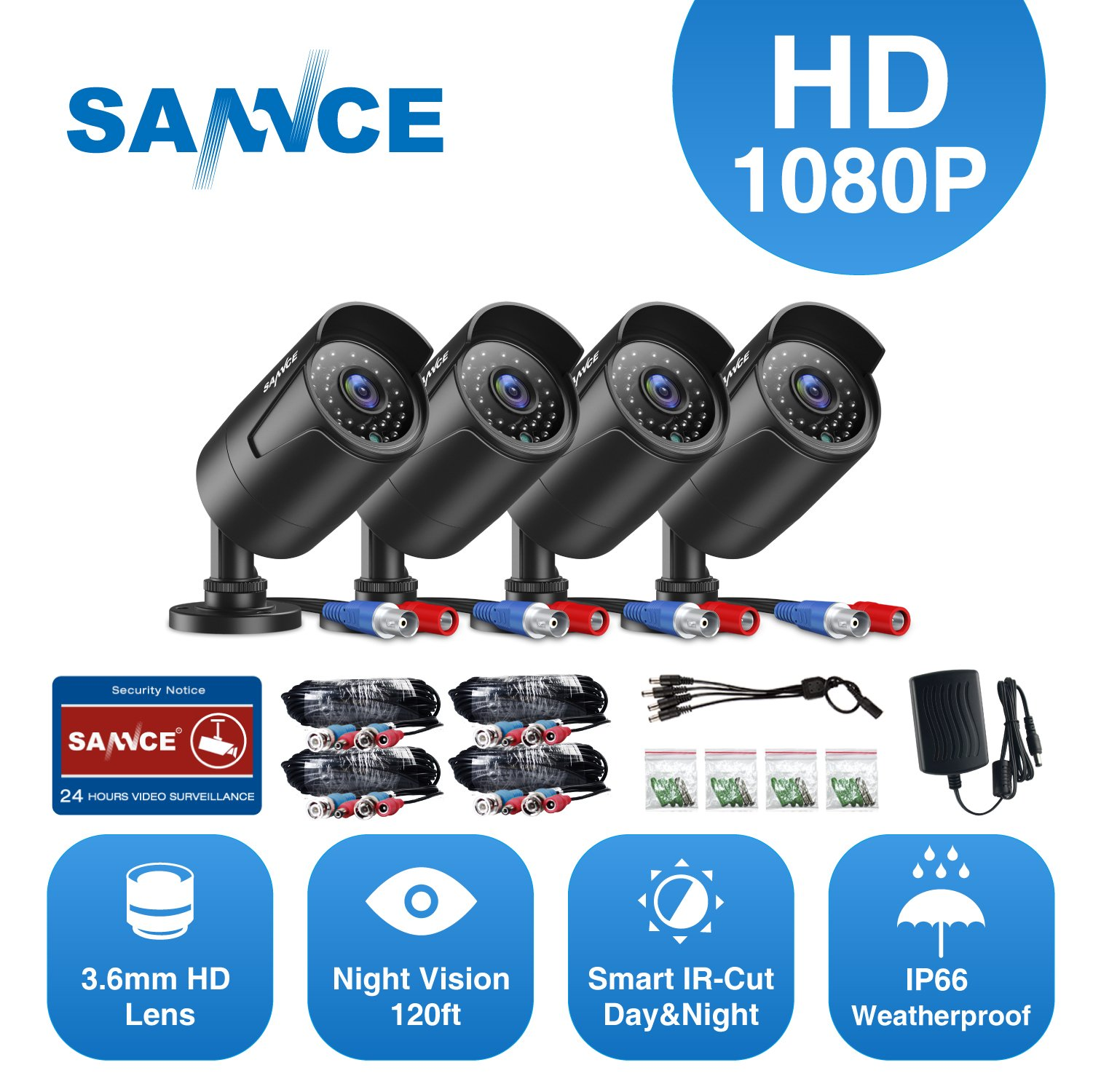SANNCE 4 Metal Security Camera Kits 1/2.7'' 1080P(2MP) AHD Video Security Surveillance CCTV Camera with 100ft Night Vision, 3.6mm Lens Outdoor/Indoor IP66 Weatherproof(Pack of 4) by SANNCE