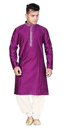 f68d0e1c04 Amazon.com: Men Indian jacquard kurta Shalwar kameez pajama BOLLYWOOD party  fancy Outfit 834: Clothing