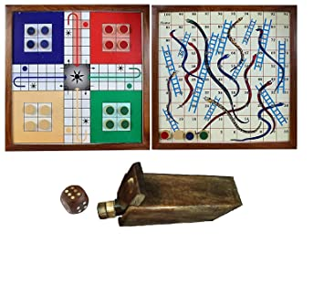 The Mind Challenge Classic Handmade Wooden 2 in 1 Ludo Magnetic Snakes and Ladders Travel…