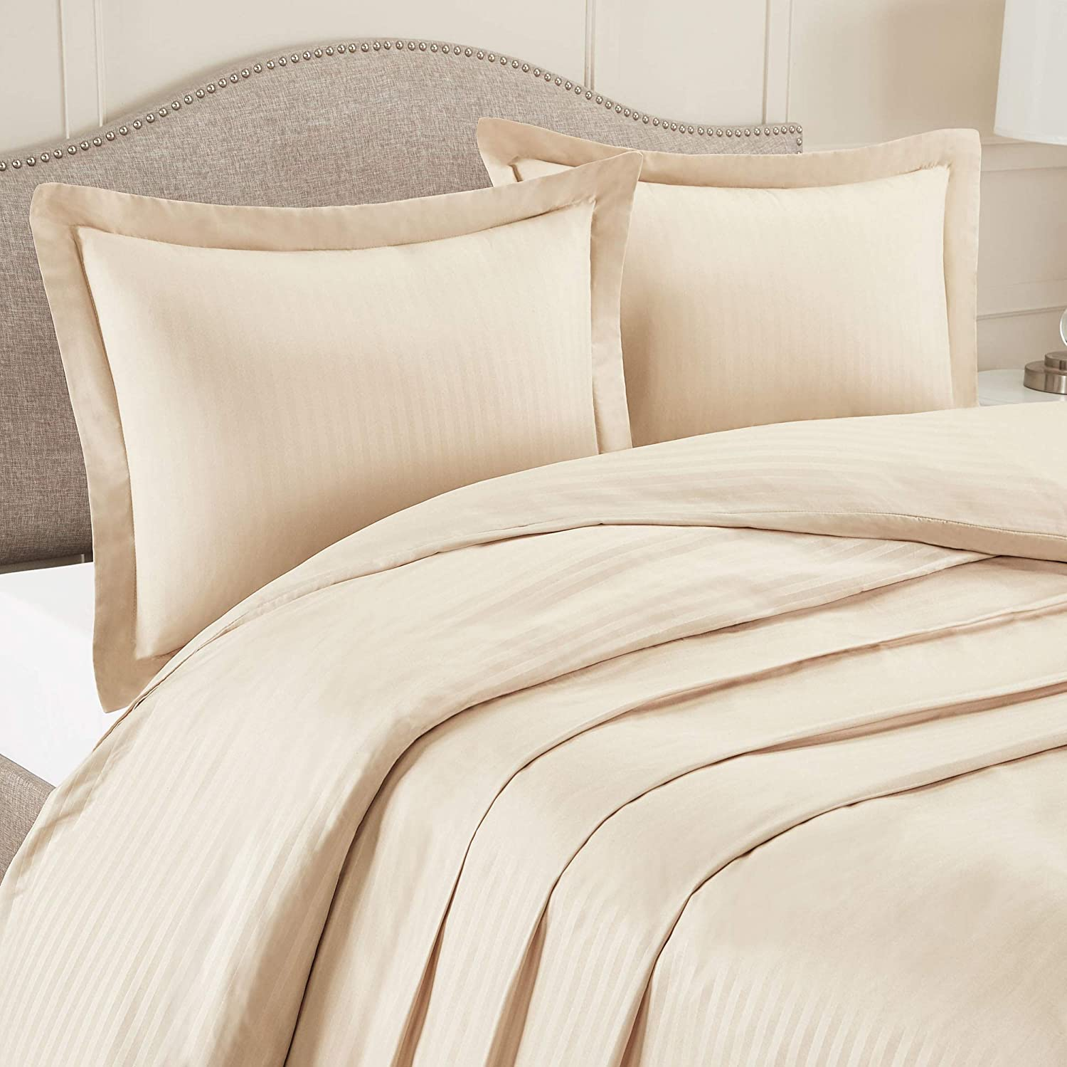 Cream Luxury Microfiber Duvet Cover with 1 Pillow Sham Twin 14 Tailored Drop Bed Skirt Nestl Bedding Damask Dobby Stripe Bed Skirt with Duvet Cover 3 Piece Set 8 Bed Skirt Pins Included