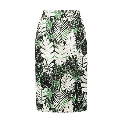 Choies Women's Print Pencil Skirt Green Leaves Print Pencil Midi Skirt XL at Women's Clothing store