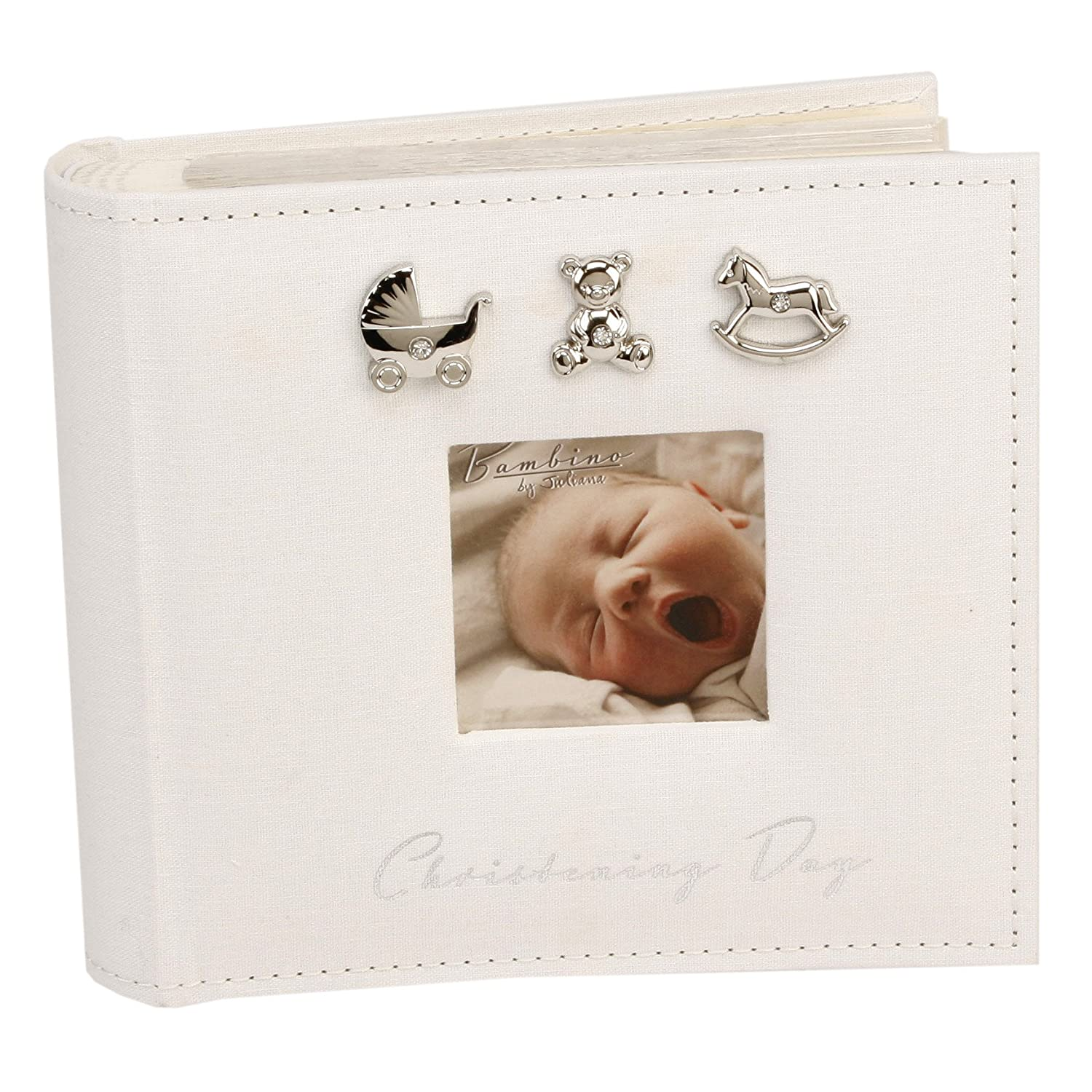 Bambino CG921 Baby Christening Guest Book, Silver Charms Optikos Design