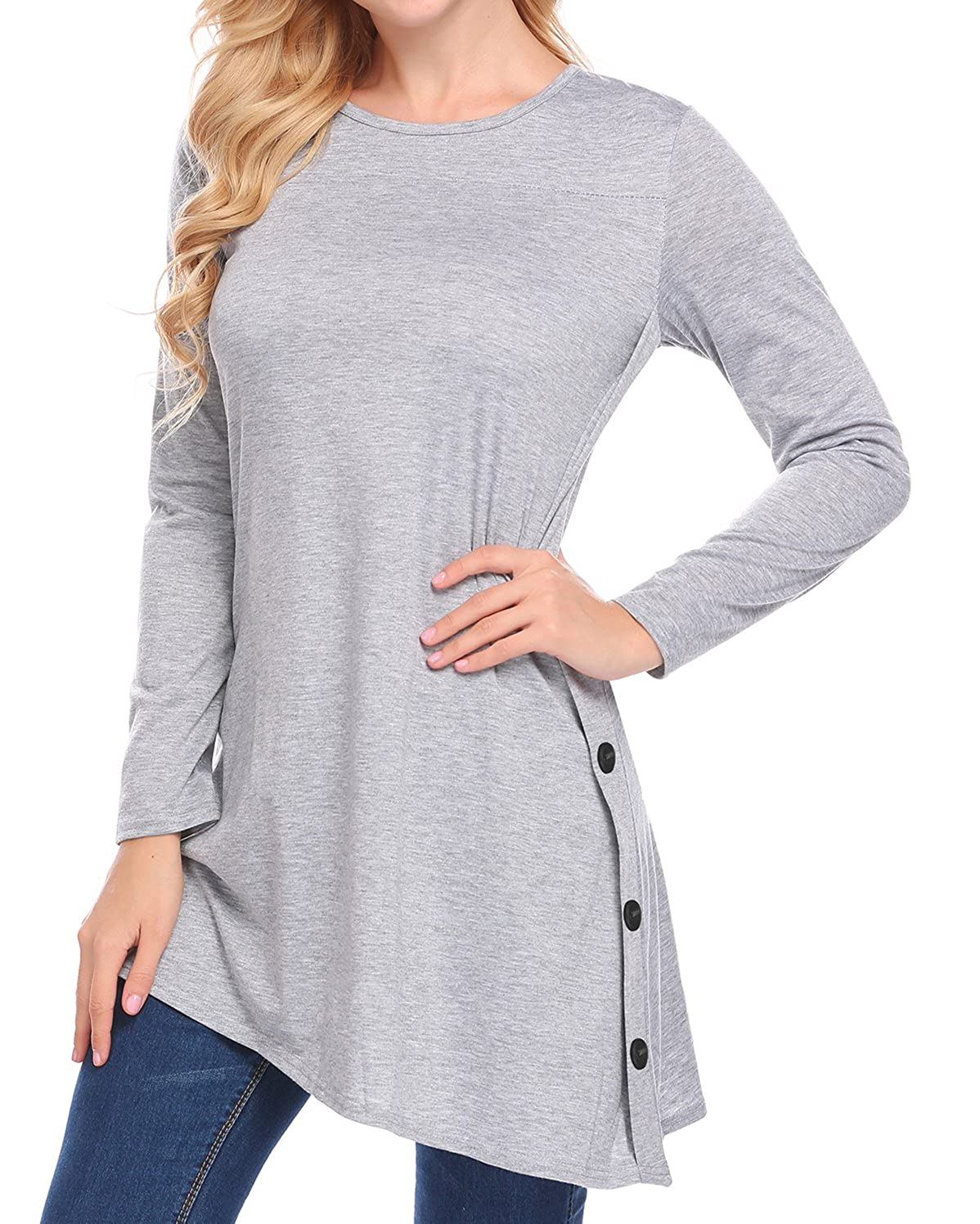 EASTHER Women's Casual Scoop Neck Button Long Sleeve Loose Long T-Shirt Tunic Top THV005986
