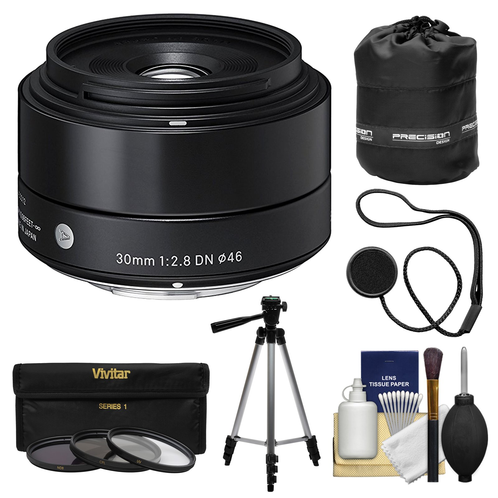 Sigma 30mm f/2.8 Art DN HSM Lens with 3 UV/ND8/CPL Filters + Tripod + Pouch Kit for Olympus/Panasonic Micro 4/3 Cameras