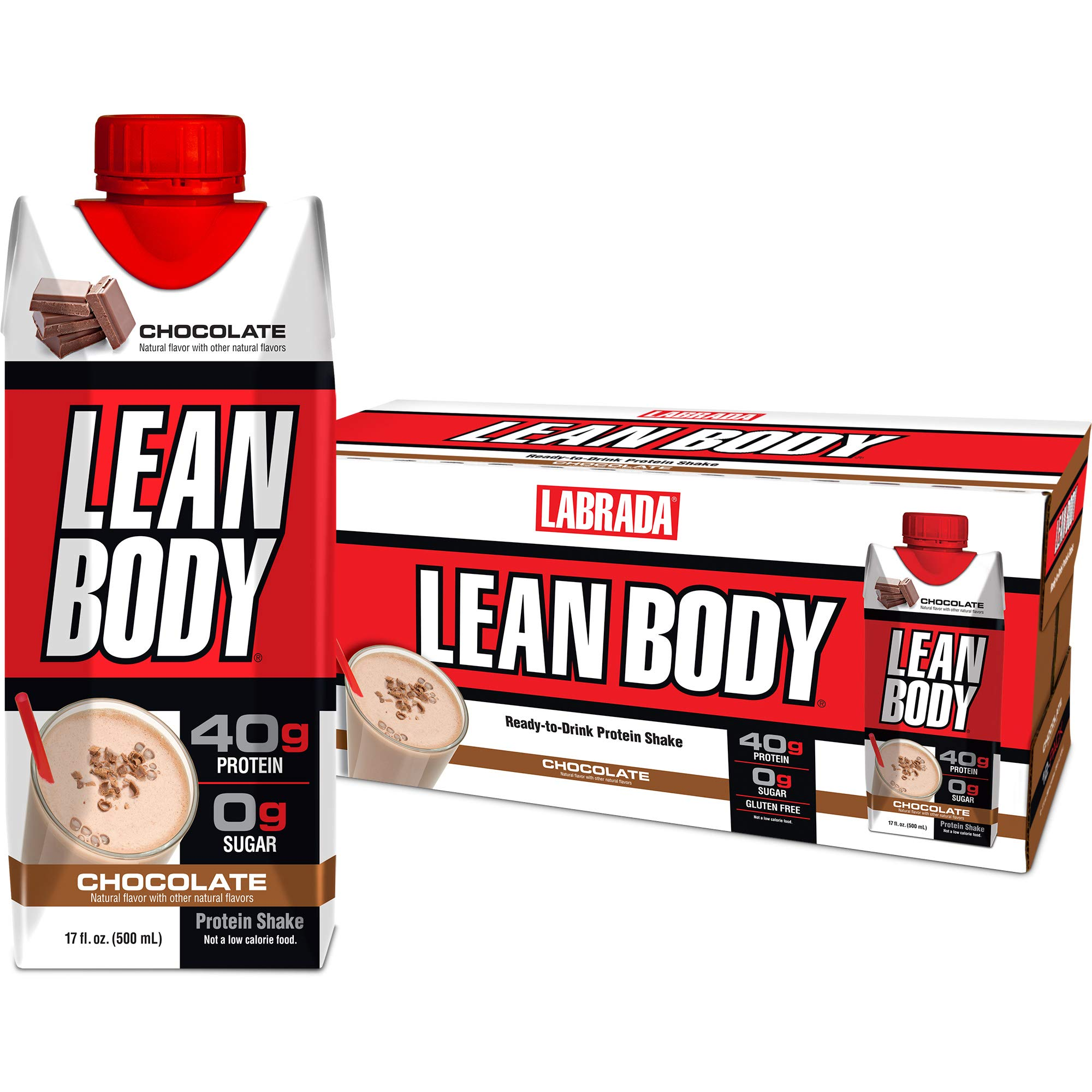 LABRADA - Lean Body Ready To Drink Whey Protein Shake, Convenient On-The-Go Meal Replacement Shake for Men & Women, 40 grams of Protein - Zero Sugar, Lactose & Gluten Free, Chocolate (Pack of 12) by Labrada