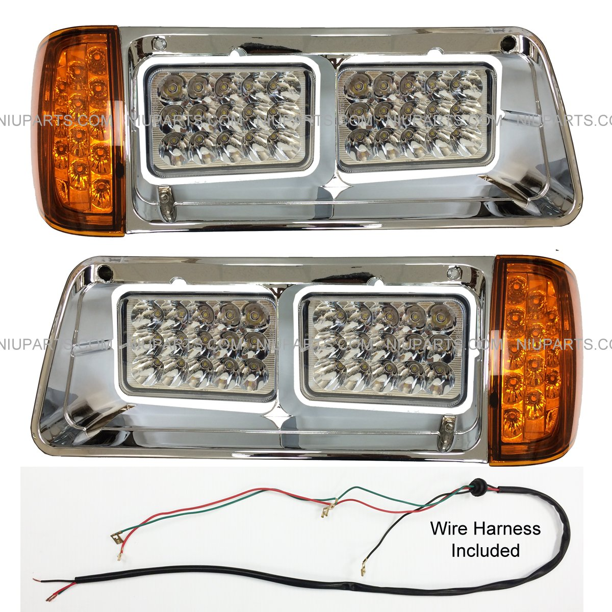 Led Headlight With Corner Light And Bezel Chrome 2002 Peterbilt 379 Turn Signal Wiring Diagram Driver Passenger Side Fit Freightliner Fld Automotive