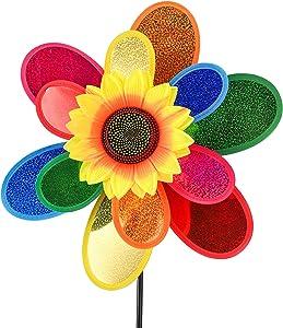 sampick Garden Wind Spinner, Sunflower Windmills Lawn Decor, 12 Inch Rainbow Pinwheels for Yard and Garden, Outdoor Lawn Ornaments Wind Spinner Yard Art(1PCS)