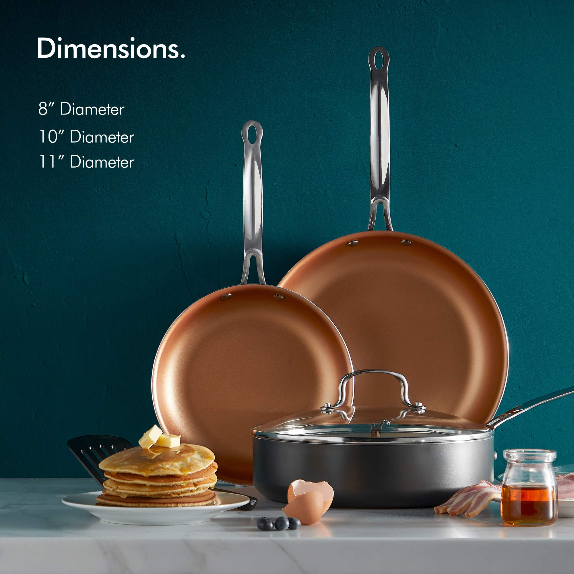 VonShef Non Stick Frying Pan Set - 8'', 10'' & 11'' Aluminum Skillets, Copper-Colored Interior, Stainless Steel Handles, Tempered Glass Lids and Spatula, Oven Safe and Induction Hob Ready, 6pc Set by VonShef (Image #2)