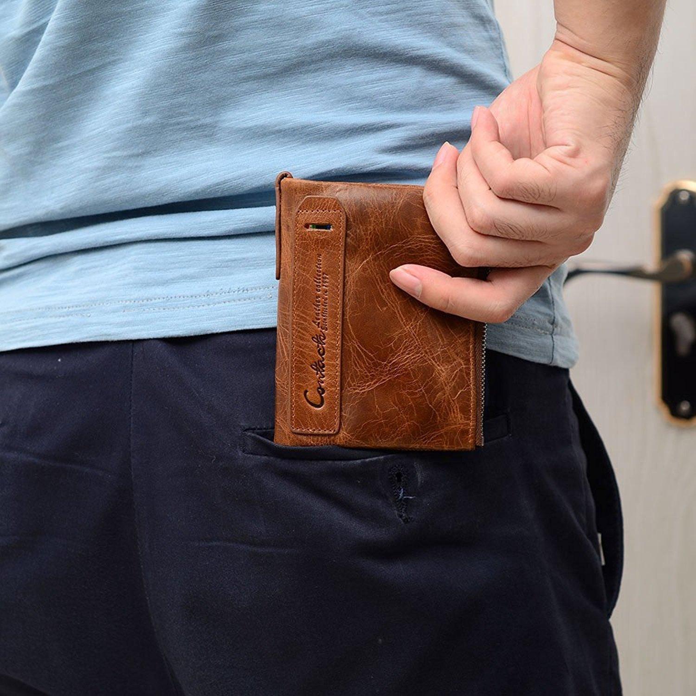 6be344068d Portafoglio uomo vera pelle di vacchetta con carta di credito titolare  Bifold Portamonete a doppia tasca