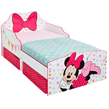Disney Minnie Mouse Kids Toddler Bed With Underbed Storage By HelloHome White