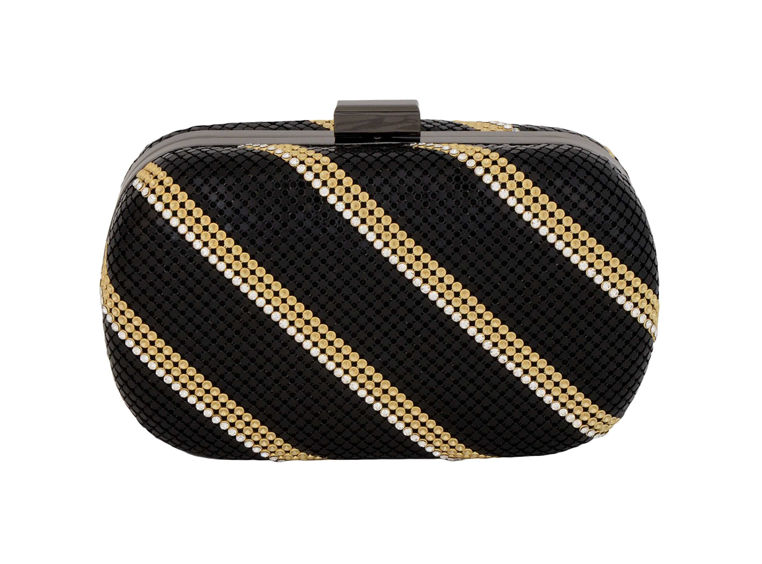 Whiting & Davis FCD Minaudiere 1-5860 Evening Bag,Black Gold,One Size