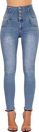 Glook Mujer Pantalones Vaquero Skinny Push Up Pantalones Elástico Jeans Cintura Alta
