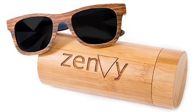 Amazon.com: Wood Sunglasses in Wayfarer Real Wooden Frame with ...