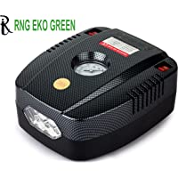 RNG EKO GREEN - Portable Tyre Inflator for Car/Bike 12V/160PSI Air Compressor with LED-Black (high Power 35L/min, Low Noise 85 db)
